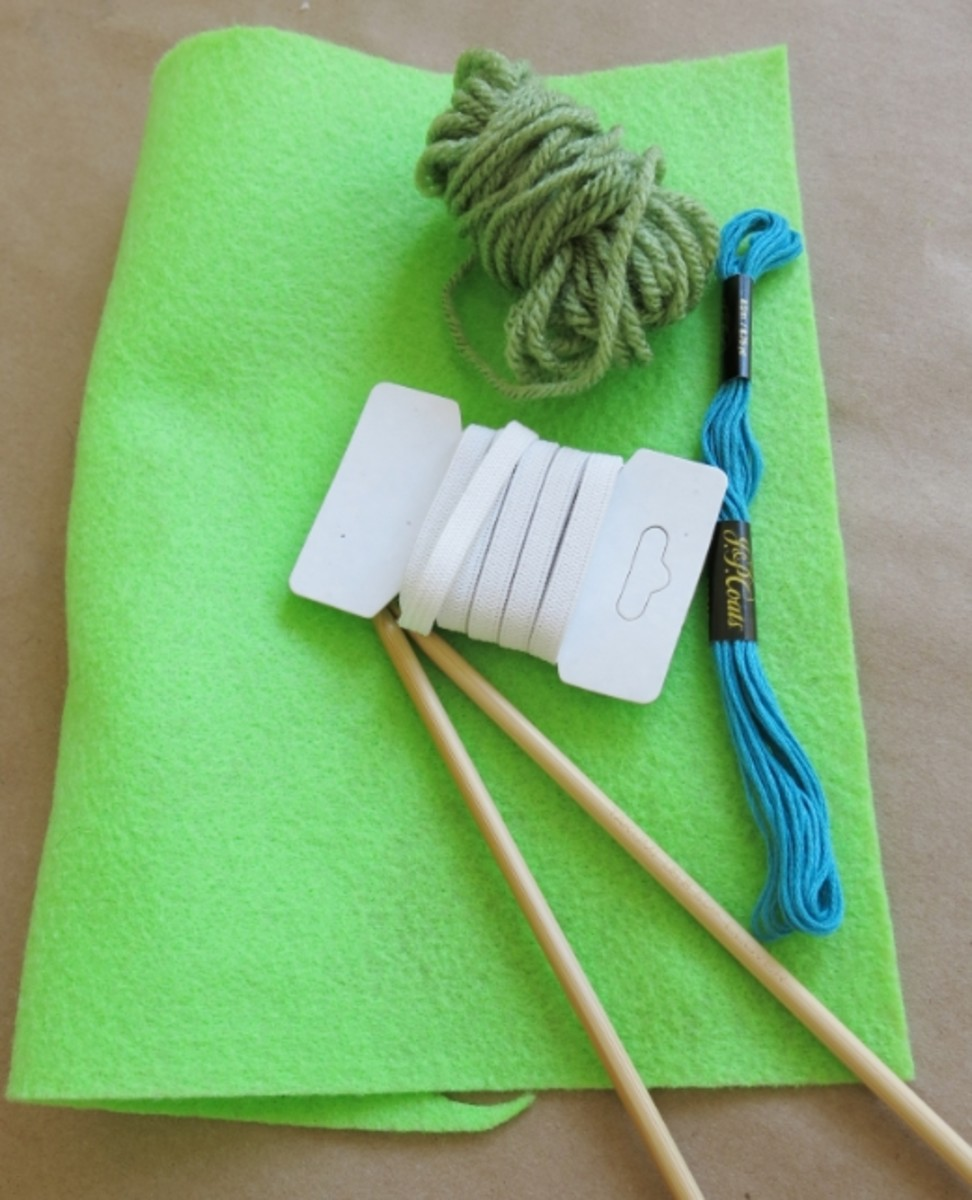 Materials for making a Knitted Yarn Ball Bookmark