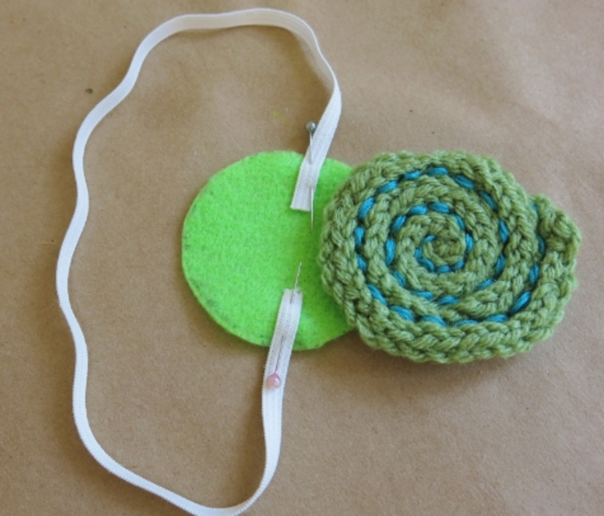 Assembling your knitted yarn ball bookmark