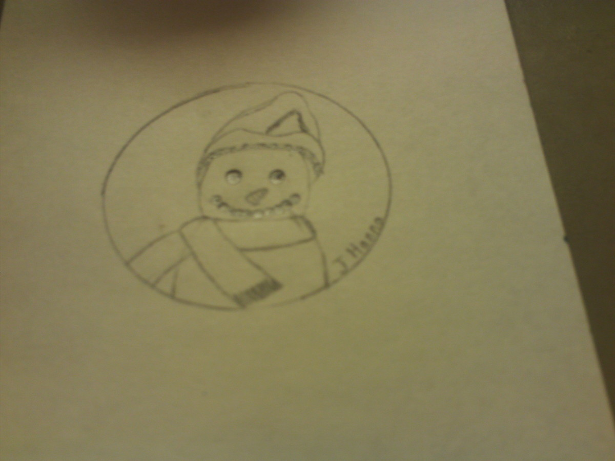 Here I drew the picture of the snowman in the circle.