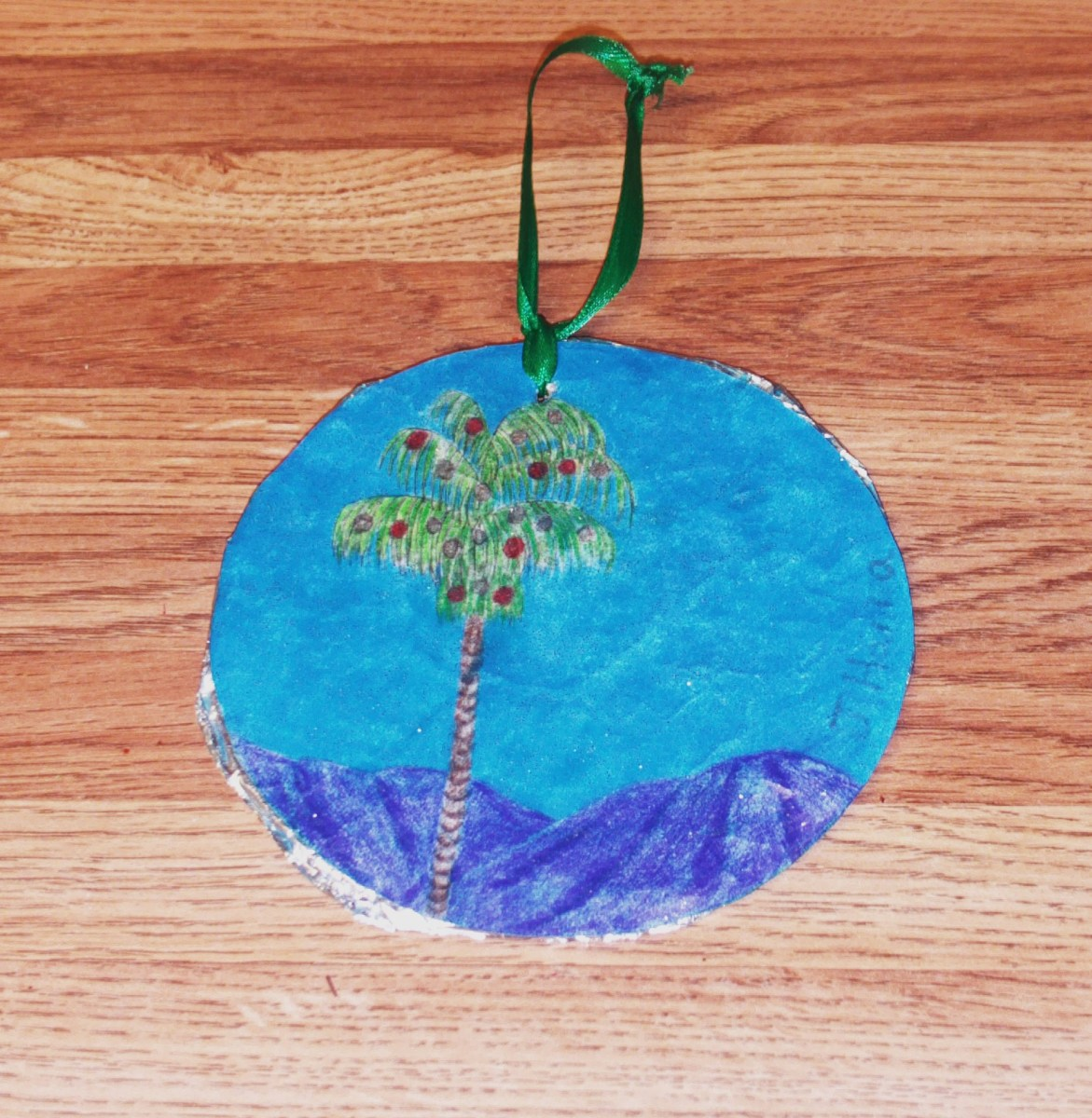A handmade palm tree ornament that pays tribute to Southern California.