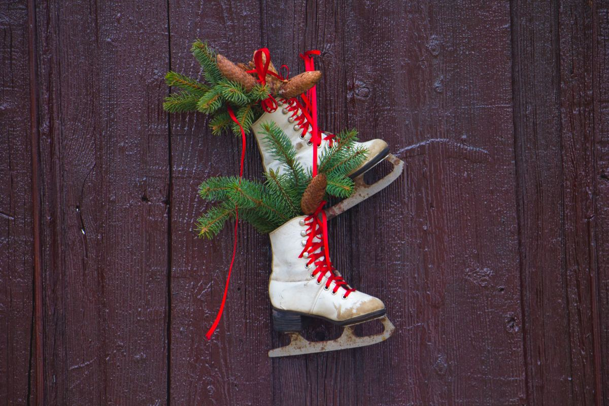 """Ice skating"" would be a great phrase to use in a game of Christmas charades. ""Pine bows"" would be a bit more difficult."