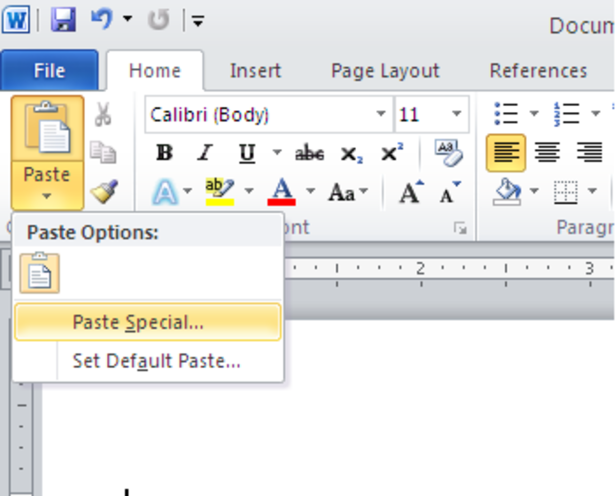 Accessing paste special from the home ribbon (shown here on Word 2010 for PC)