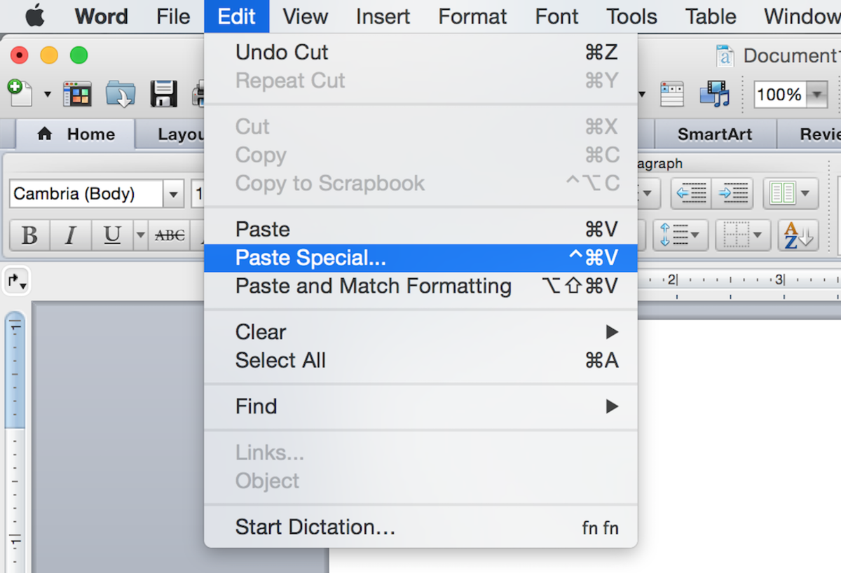 Accessing past special from the edit menu (shown here on Word 2016 for Mac)