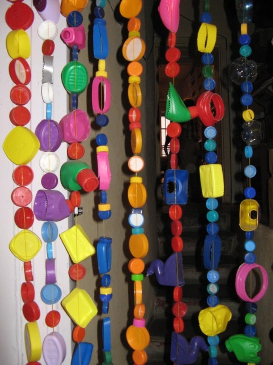 Plastic bottle pieces