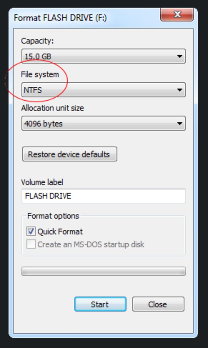 Select format option