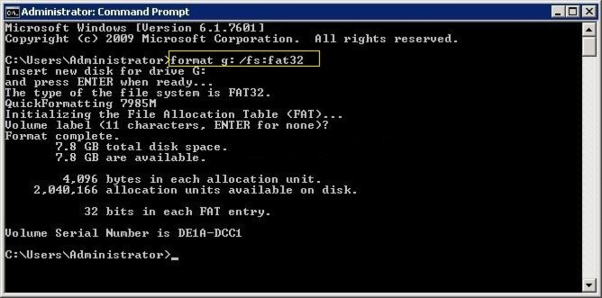 Formatting using command prompt