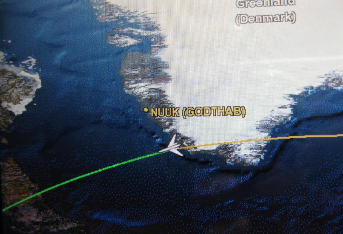 Delta Airlines video map showing path of our flight over the southern tip of Greenland.
