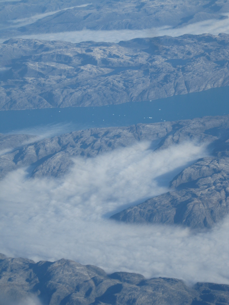 Fjord on southern coast of Greenland as viewed from the air.