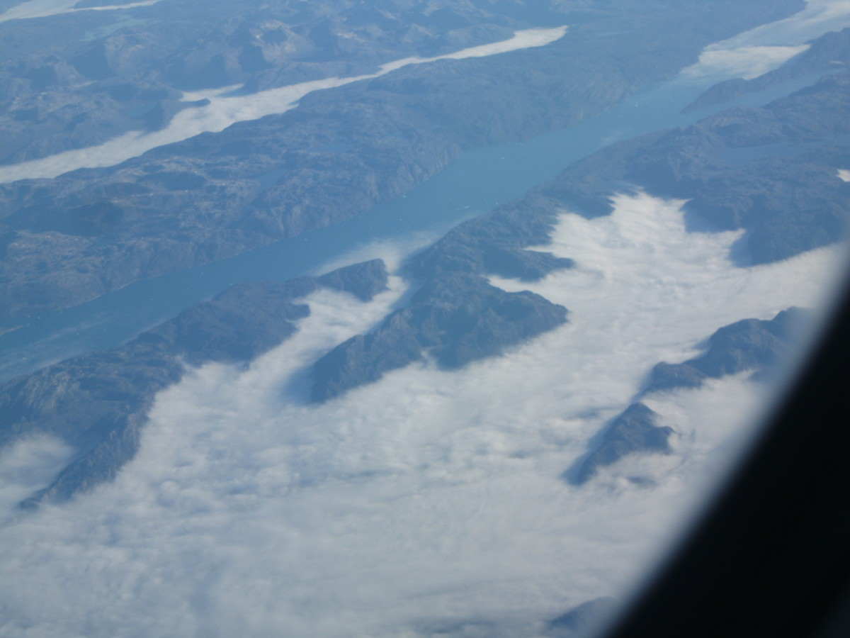 Aerial view of a fjord along southern coast of Greenland
