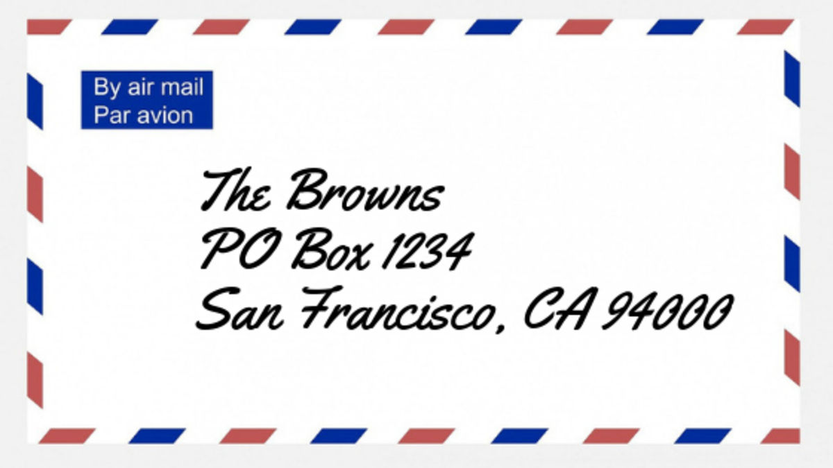How to address an envelope with a PO Box.