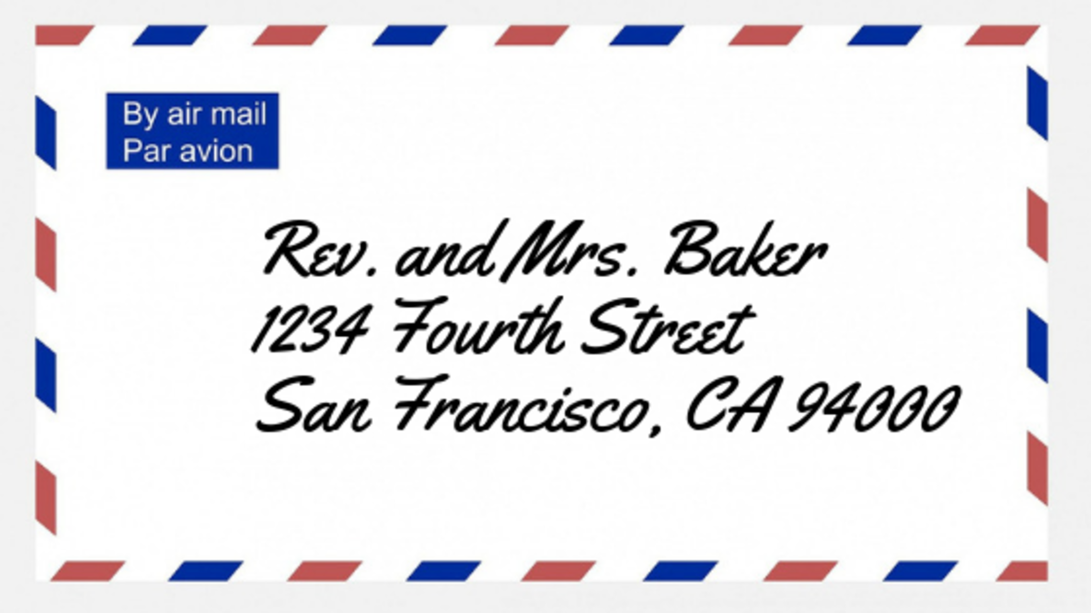 The proper way to address a reverend on an envelope.