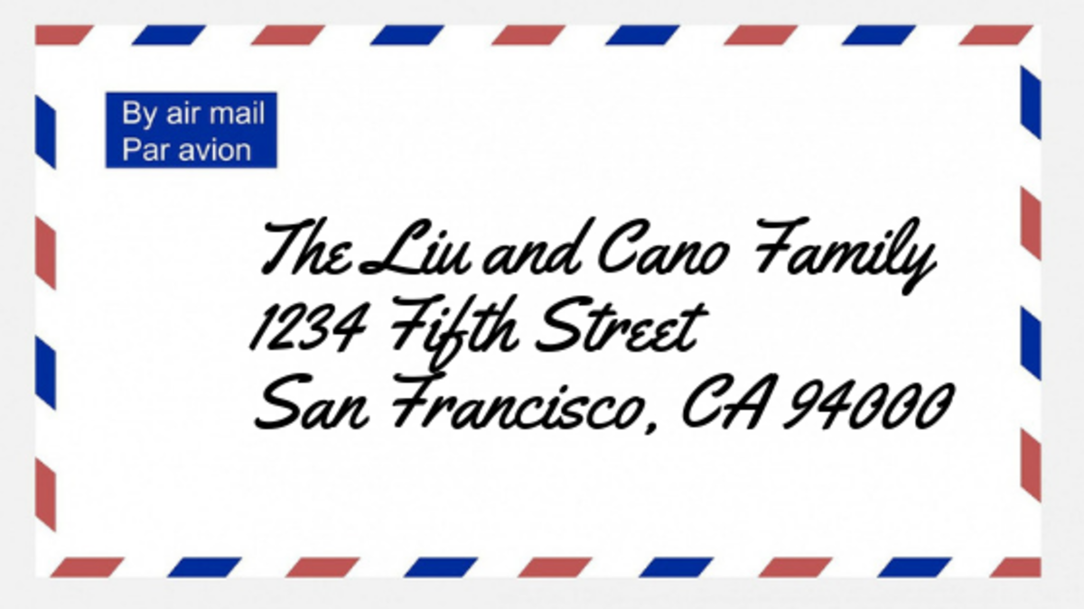 Addressing an envelope for a couple with differing last names and children.