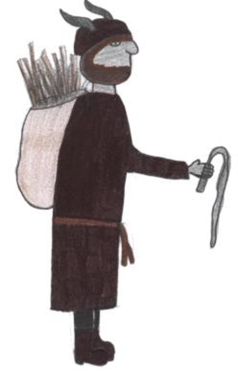 Père Fouettard with a sack full of birch rods for spanking naughty children.
