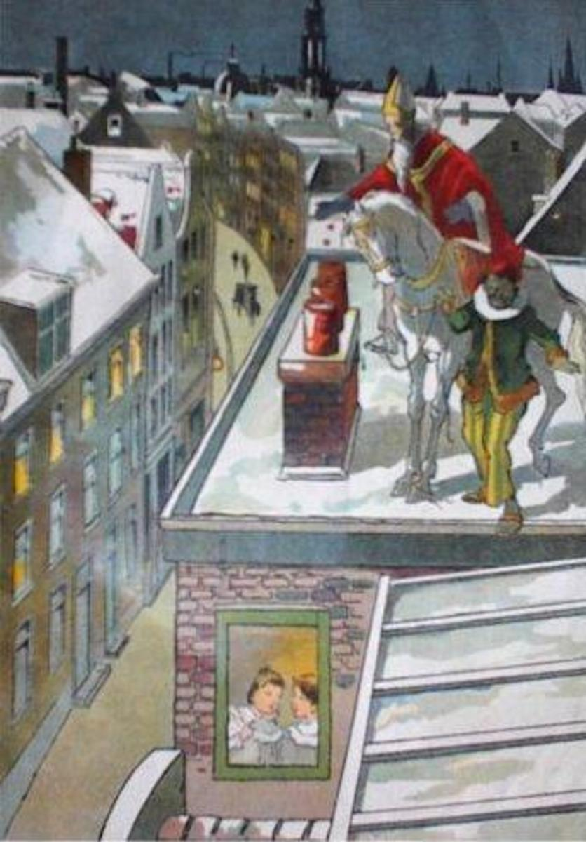 St. Nicholas dropping gifts down a chimney with Zwarte Piet, the Dutch version of Père Fouettard.