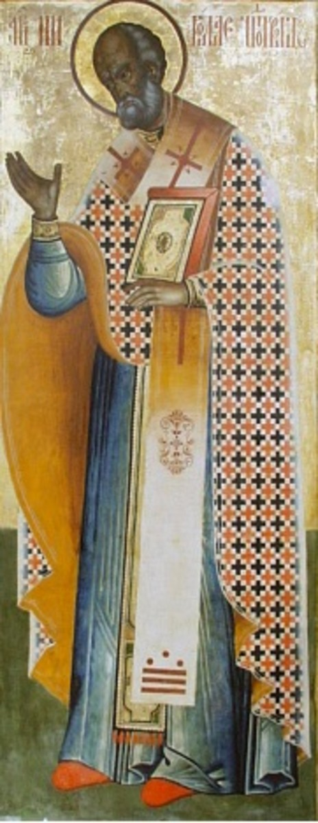 18th Century Russian Icon in Kizhi monastery, Karelia, Russia, Depicting Bishop St Nicholas