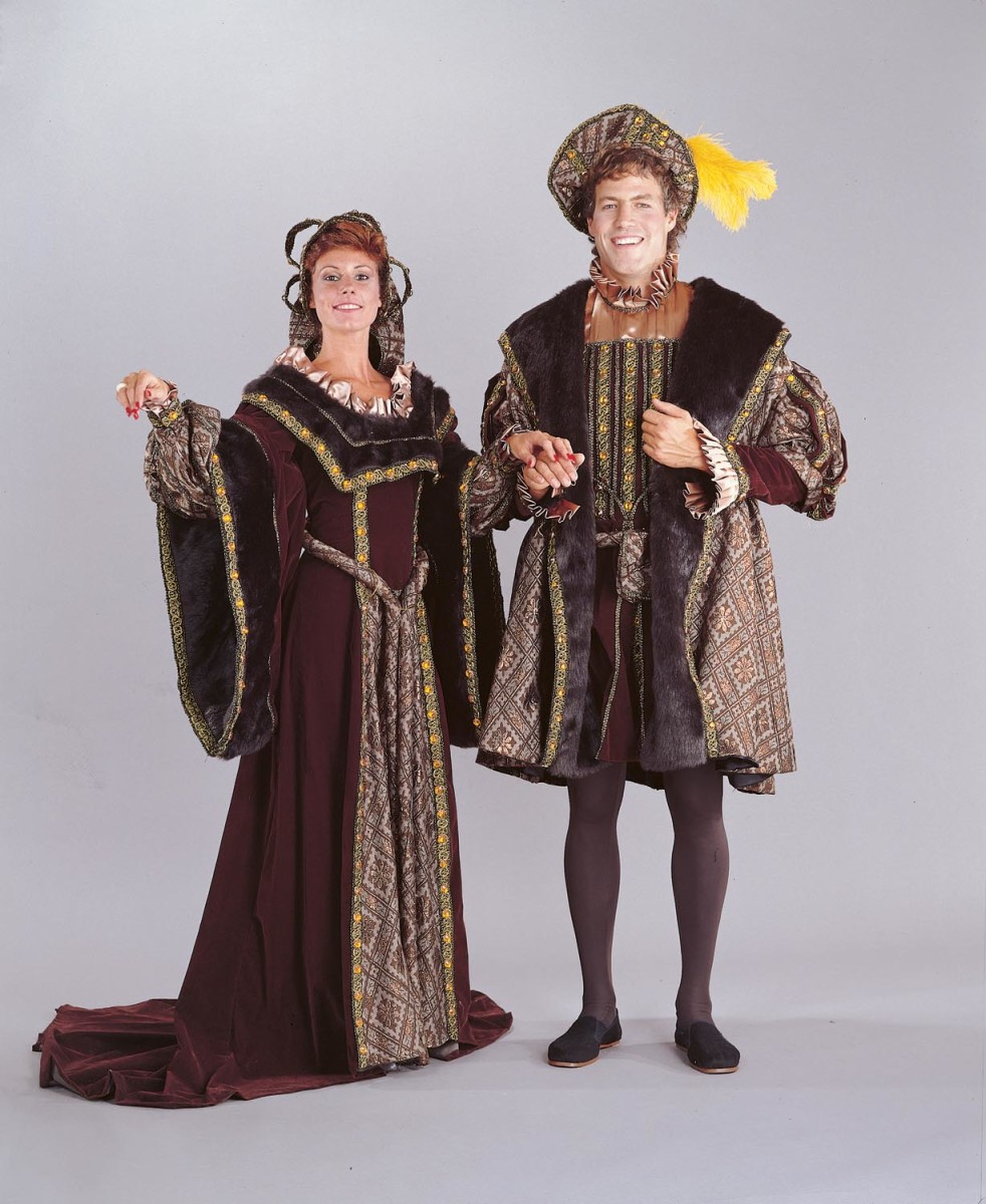 Henry VIII with one of his many wives in Tudor costume