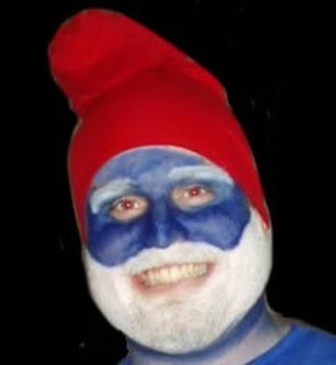 Easy Costume: makeup, red hat, blue shirt.