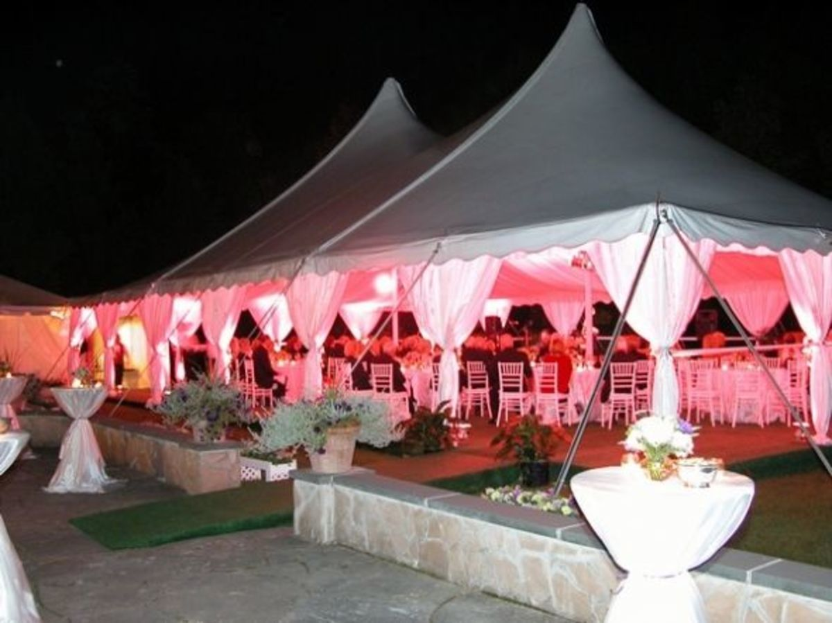 Custom-lit pole tent, from the outside.
