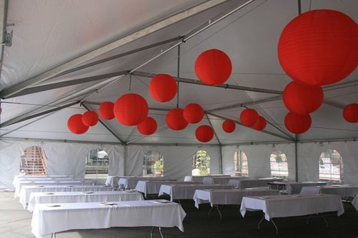 Frame tent with cathedral walls and funky ball lights. Very chic, no-liner tent.