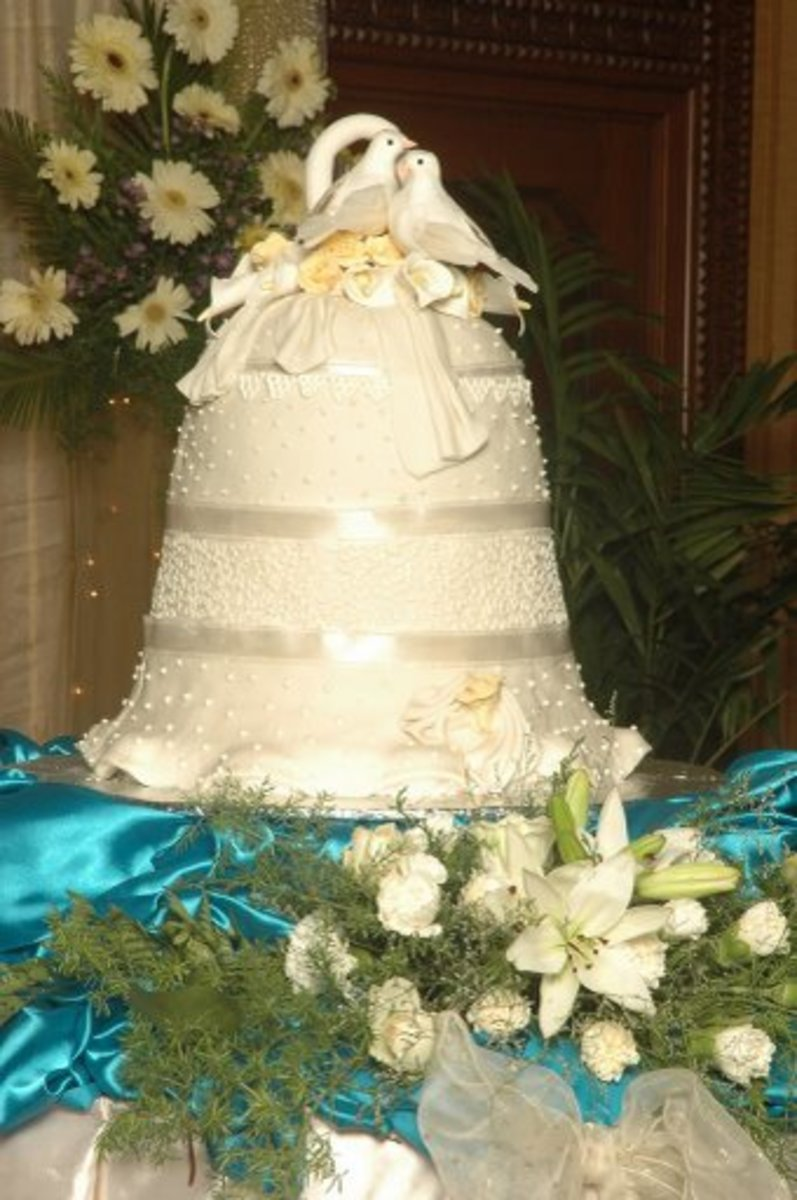 This bell-shaped wedding cake was made by my sister for her son's wedding.