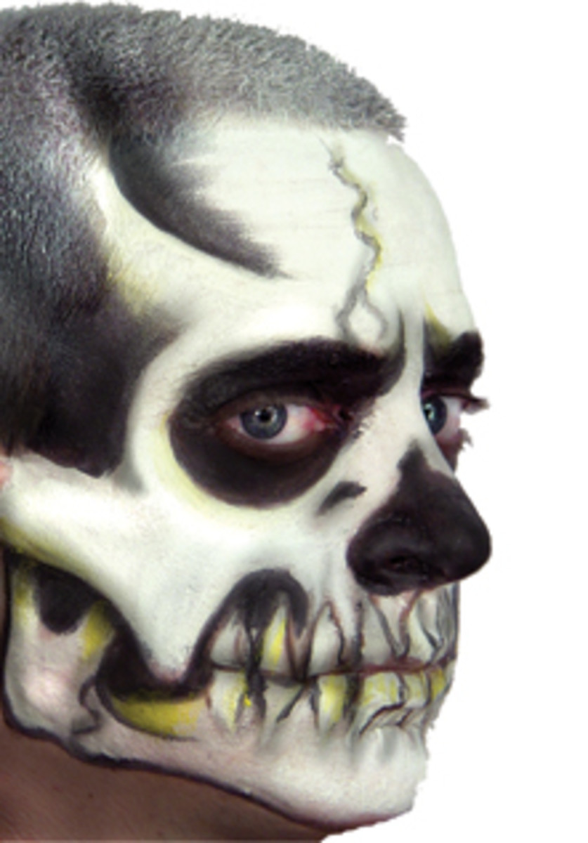 Skeleton makeup with elaborate jawbone and teeth shading