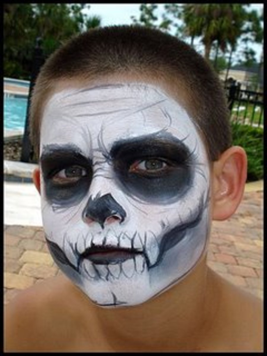 Skeleton makeup using just black and white