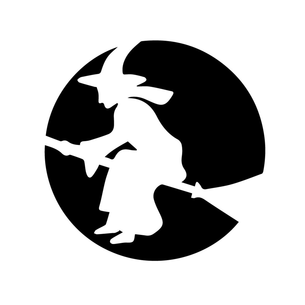 This pumpkin-carving pattern shows a witch flying on her broomstick.