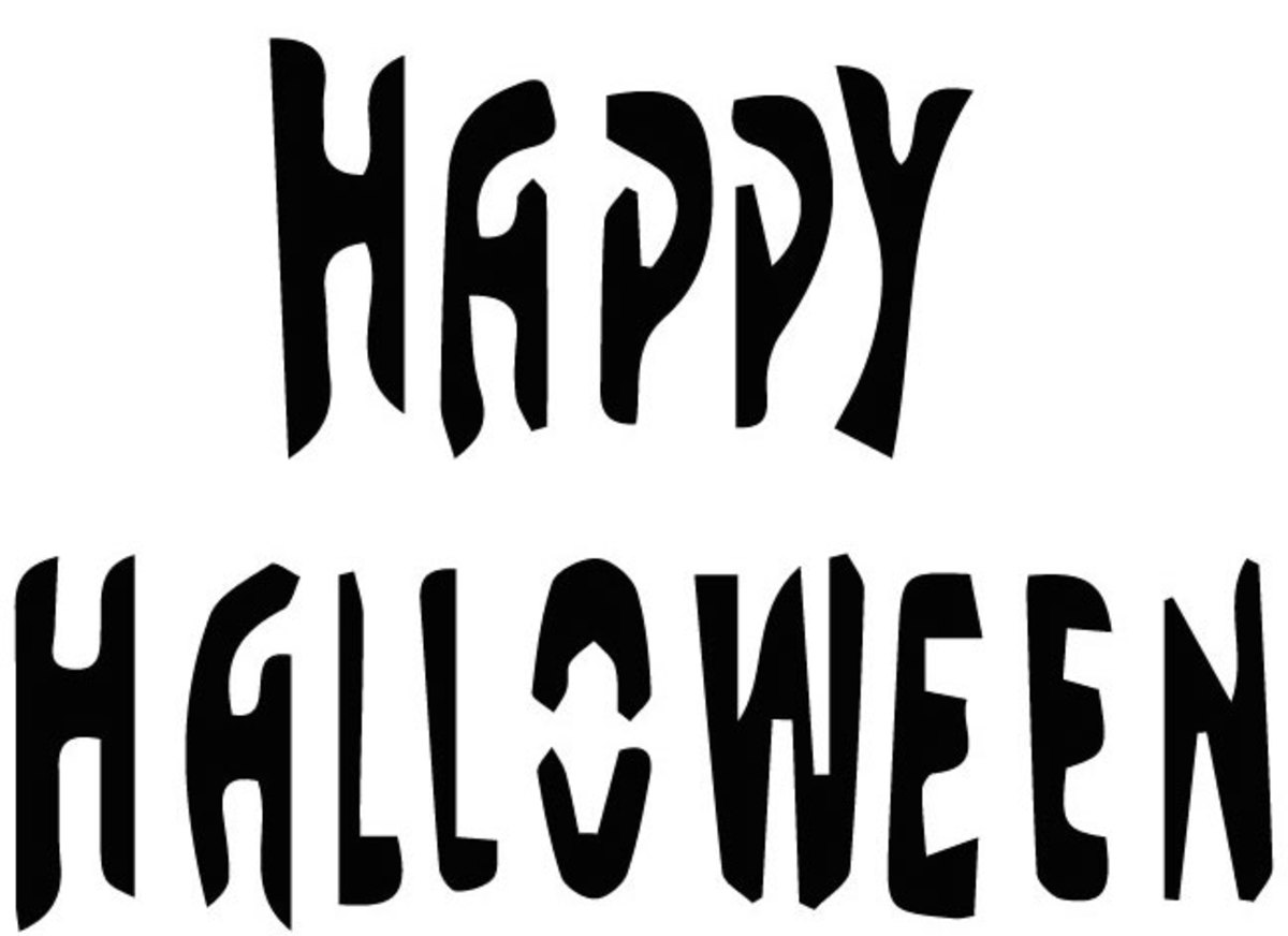 "Send a straightforward message with this pumpkin-carving stencil reading ""Happy Halloween."""
