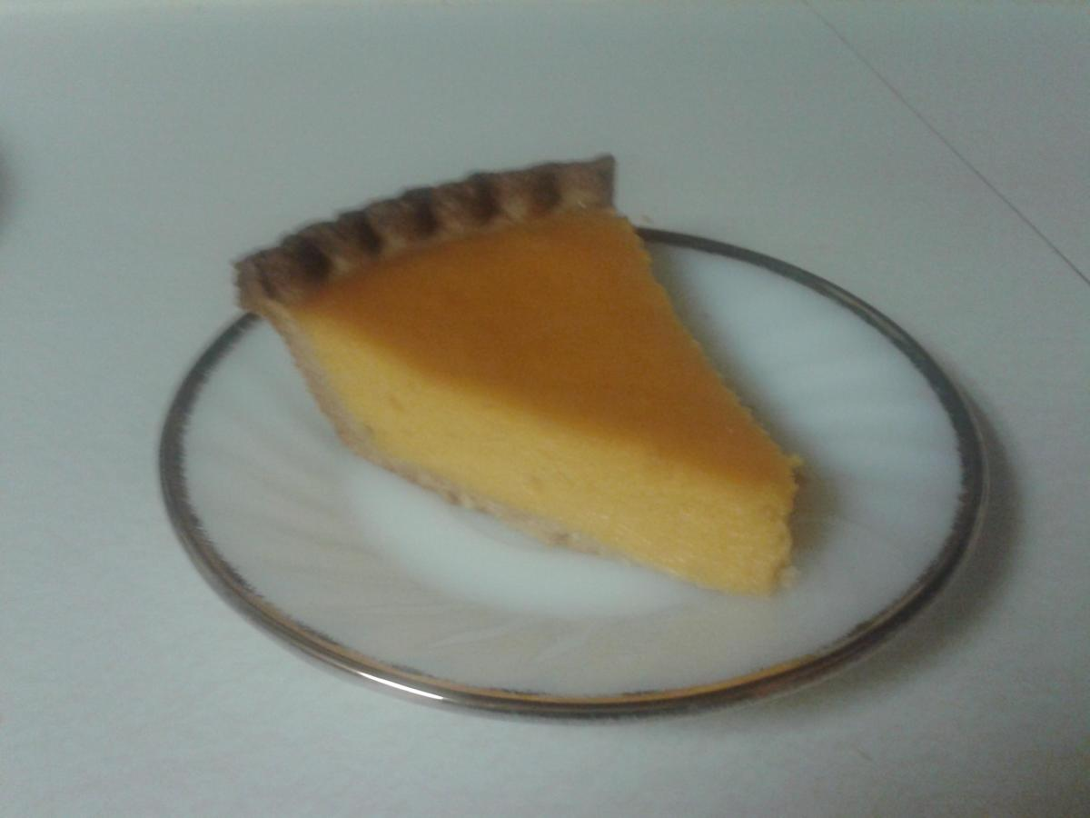 Slice of Mom's Sweet Potato Pie, served on Granny's dish