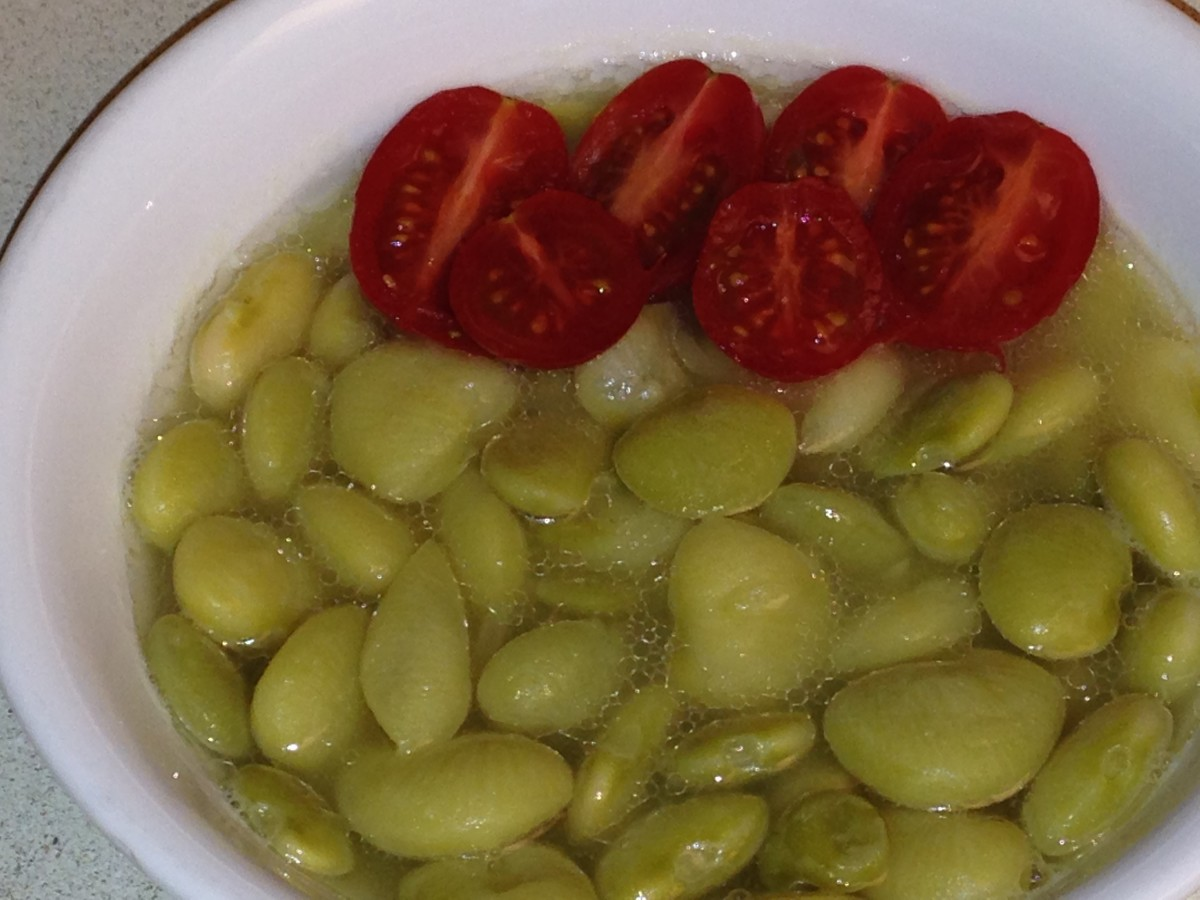 Green lima beans, cooked until very tender