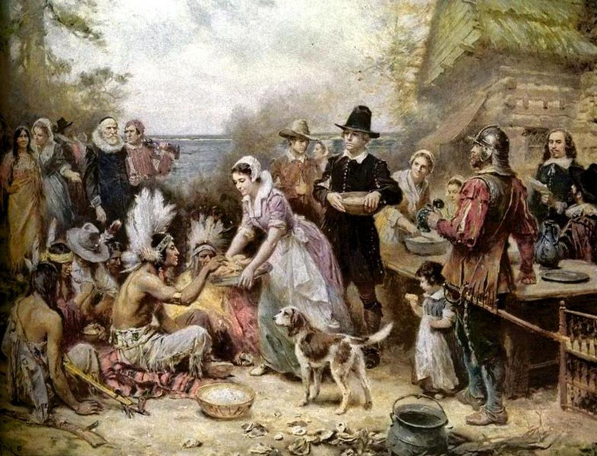 """The First Thanksgiving"" a painting by Jean Leon Gerome Ferris (18631930).  Courtesy of WikiPedia http://en.wikipedia.org/wiki/File:The_First_Thanksgiving_Jean_Louis_Gerome_Ferris.png"