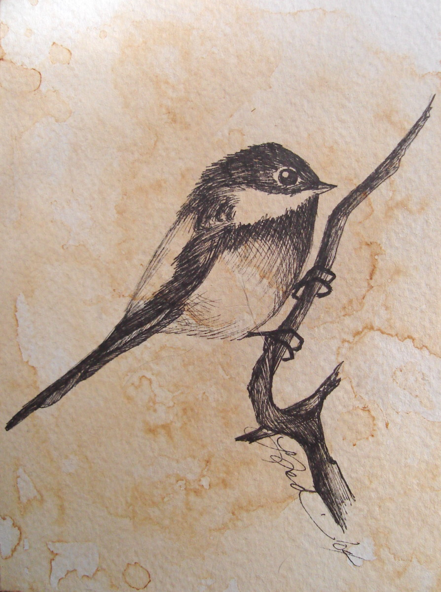 "Mr. Chickadee-dee-dee on ""antiqued' card stock."
