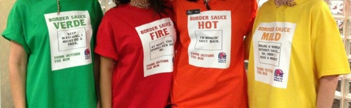 Get a group together and go as different flavors of hot sauce! You can find readymade T-shirts or make your own.