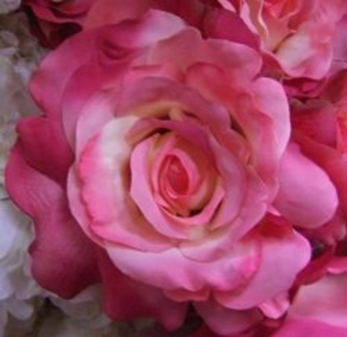 A lovely artificial pink rose in full bloom