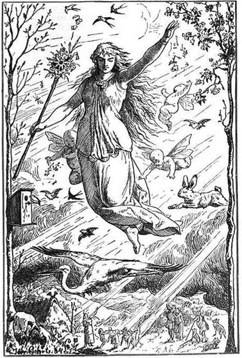 """Ostara"" (1901) by Johannes Gehrts. The goddess ostre/*Ostara flies through the heavens surrounded by Roman-inspired putti, beams of light, and animals. Germanic peoples look up at the goddess from the realm below"
