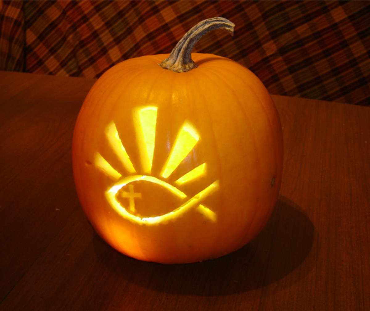 Pumpkin christian fish carved jack o lantern