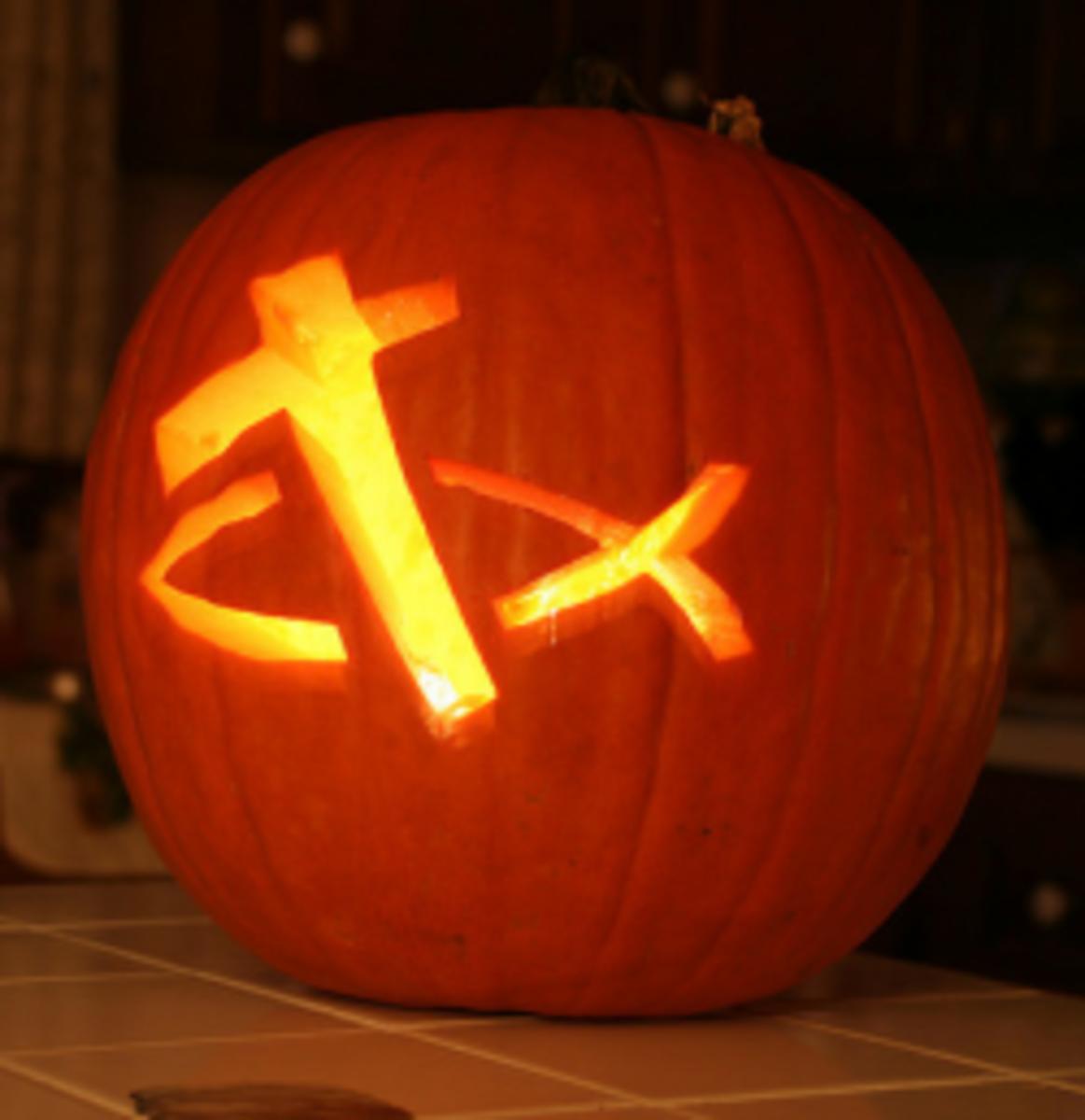Christian Cross carved pumpkin.