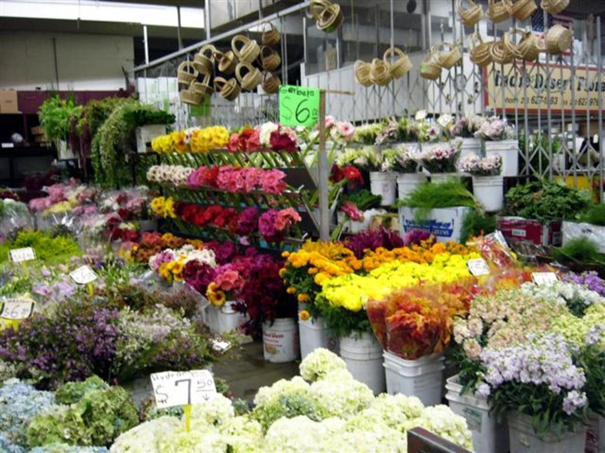 Many big cities have wholesale flower markets like this one in Los Angeles.