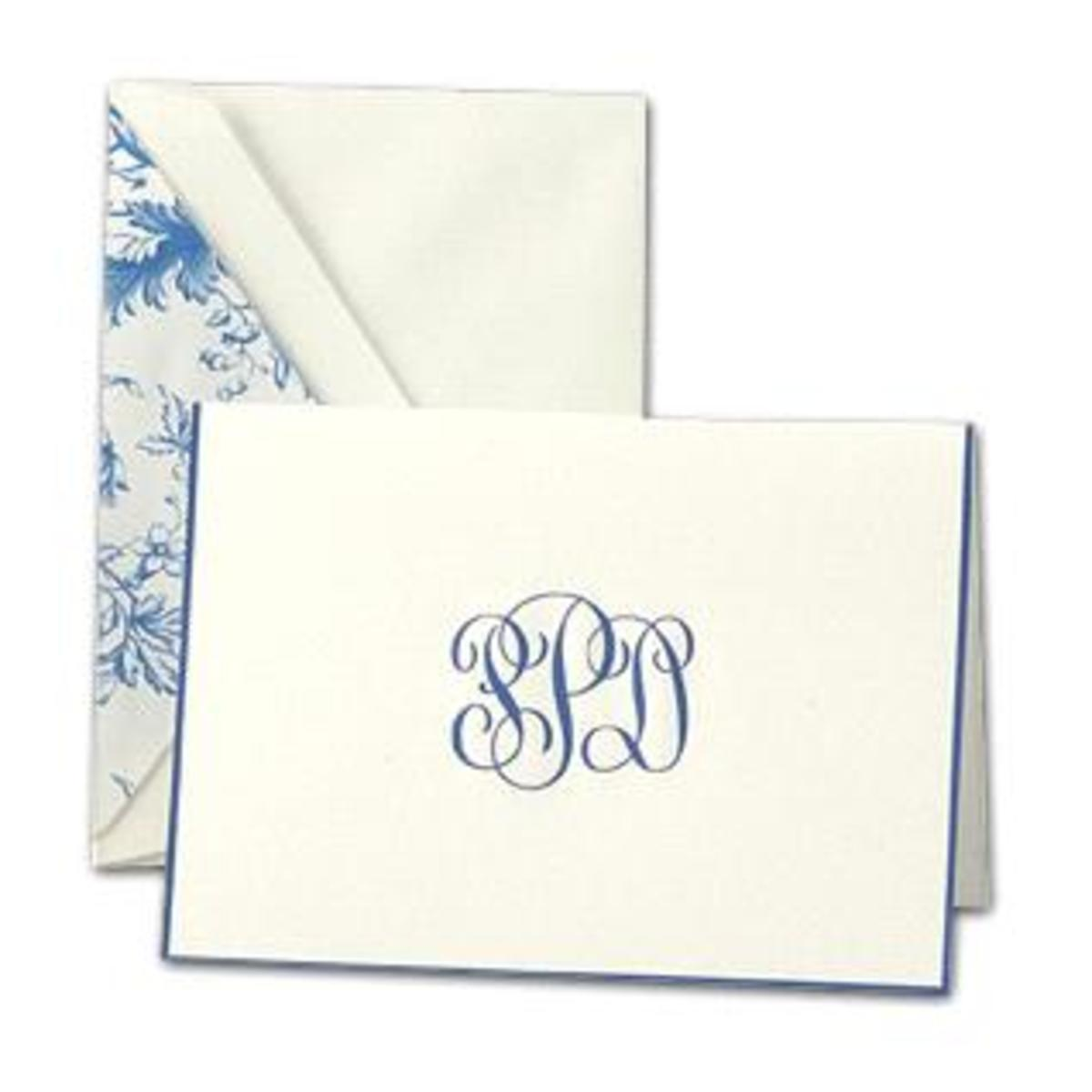 Monogrammed fold over note cards such as these by Crane are ideal for gracious notes.