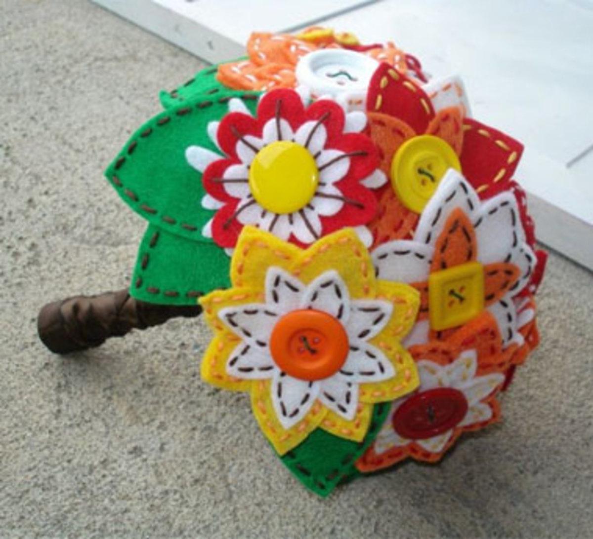 A felt and button bouquet + indie pop vows = perfect alternative wedding!
