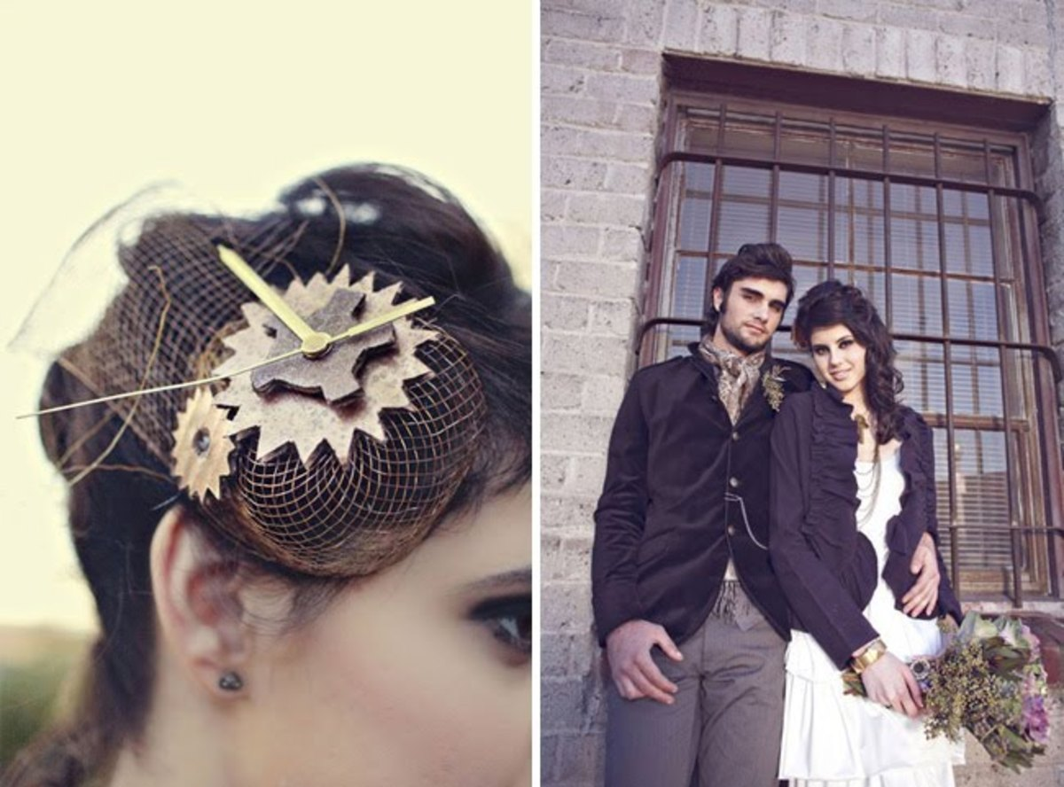 Bridal hair accessory and a photo of a Steampunk Bride and Groom