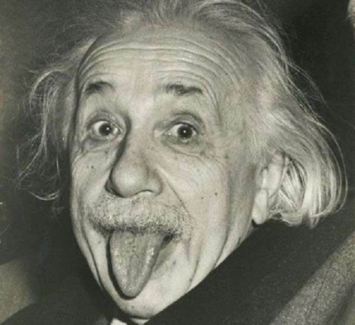 One of the most famous photographs of Einstein features him sticking out his tongue in a display of his trademark goofiness.