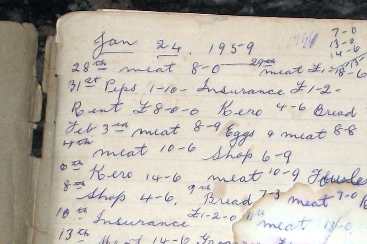 First entry in the housekeeping book that was to be filled with recipes