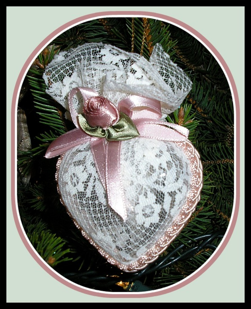 Victorian Lace Heart Christmas Ornament