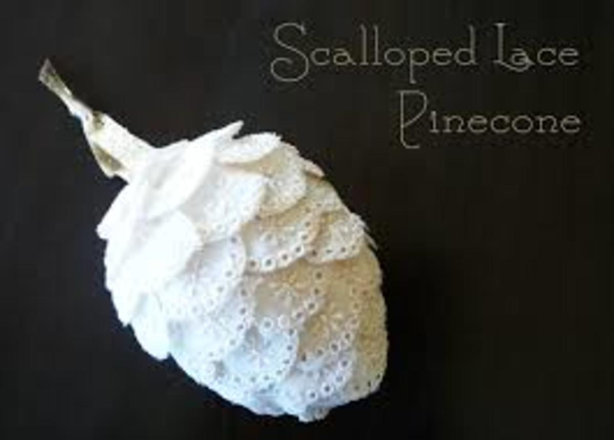 Scallop Lace Pine Cone Christmas ornament