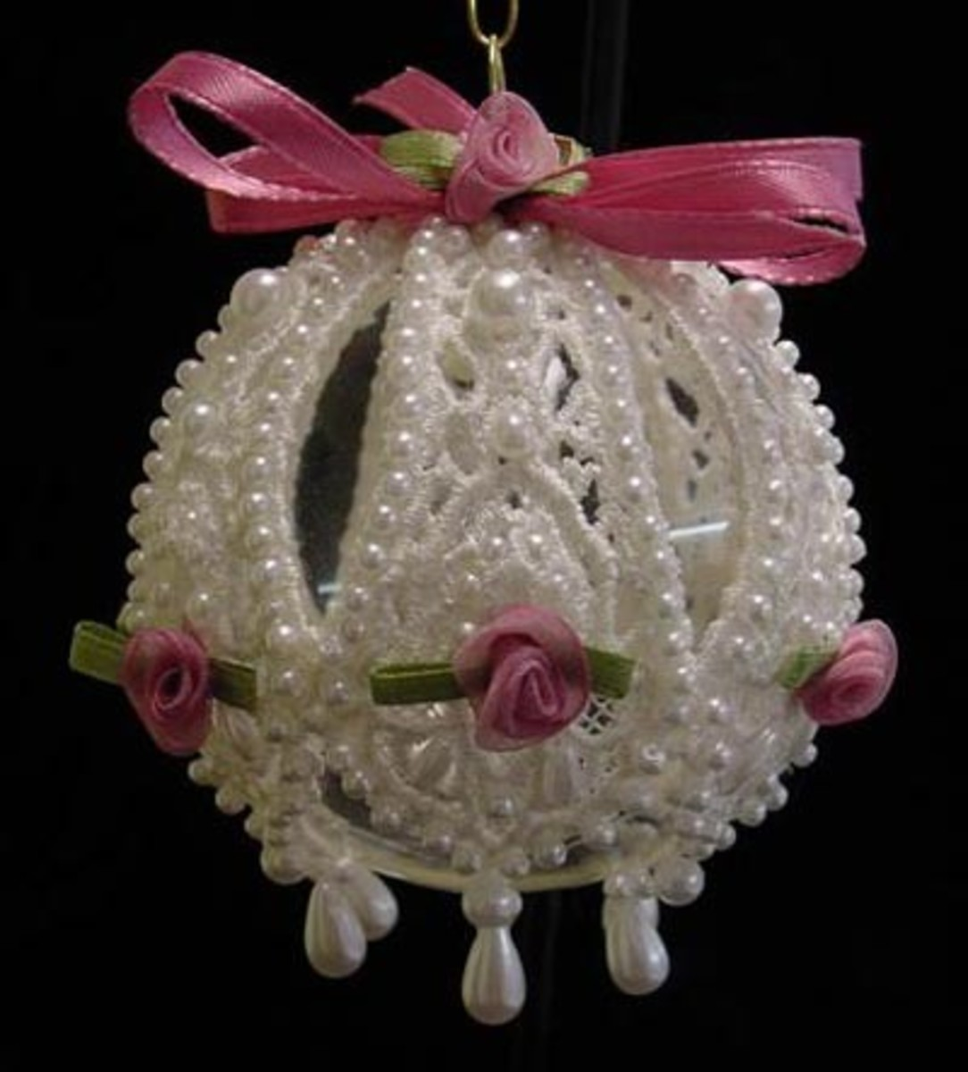 White Lace Pearls and Pink Ribbon Roses