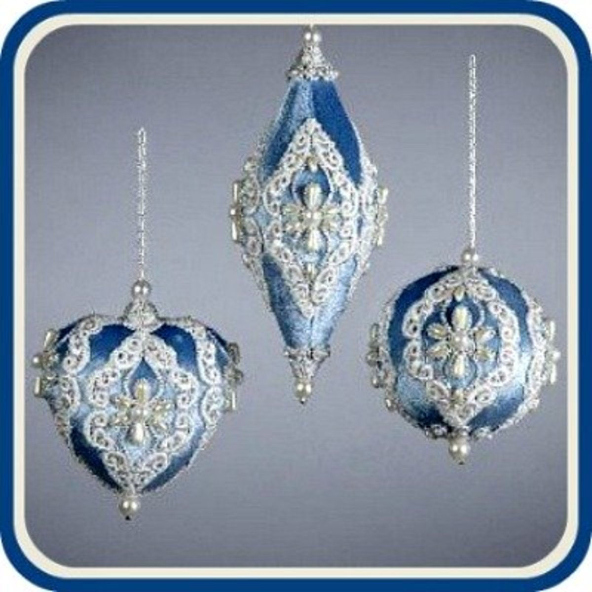 Victorian Lace Blue Velour Ornaments