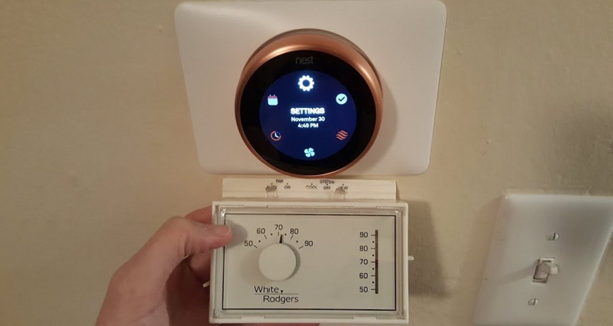 The Nest Thermostat  comes in copper (shown above), stainless steel, and white.