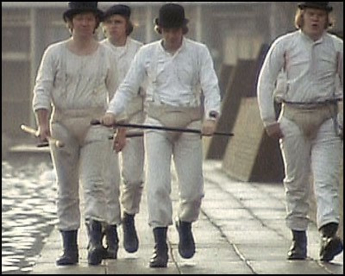The droogs in their full costume.