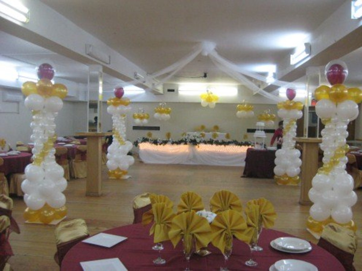 Although Balloons make a wedding look more festive, it reminds me of a birthday party. I have seen some special balloon displays that look halfway decent but they have to be done right to look classy.